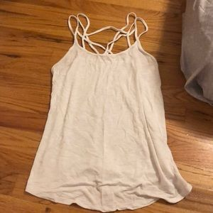 Crossed white loose tank top